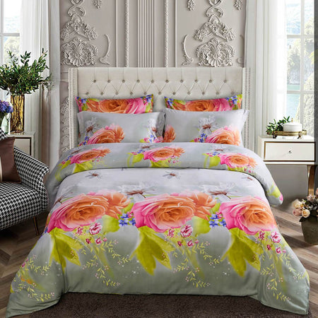 Dolce Mela Eden Sateen Luxury King Duvet Cover Reversible Design Bedroom Bedding Set