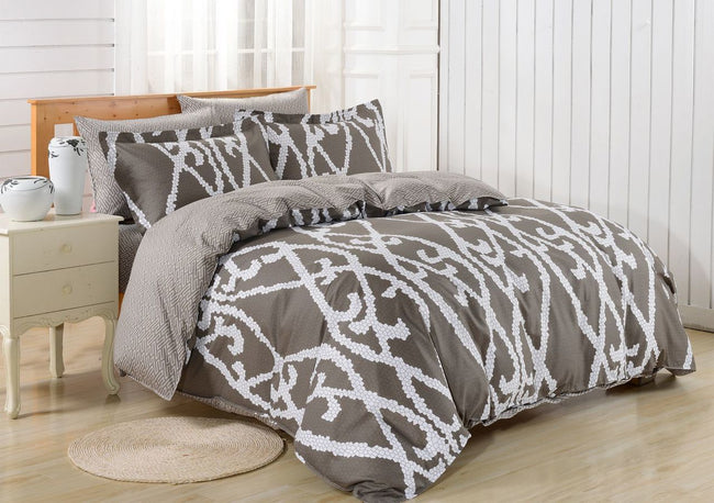 Dolce Mela Modena 100% Cotton Luxury Queen Duvet Cover Reversible Design Bedroom Bedding Set - My Bedding Obsession