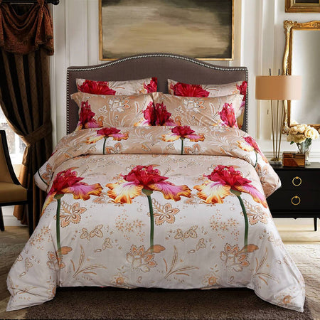 Dolce Mela Abloom 100% Cotton Luxury King Duvet Cover Reversible Design Bedroom Bedding Set