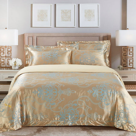 Luxurious 3 Piece Ivory Queen Duvet Cover Jacquard Design Bedroom Bedding Set