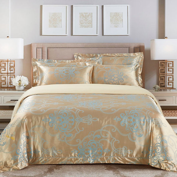 Dolce Mela San Marino 100% Cotton Luxury King Duvet Cover Reversible Design Bedroom Bedding Set - My Bedding Obsession