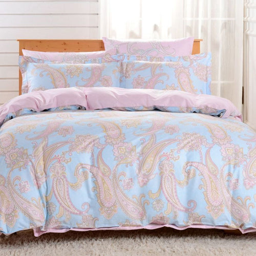 Dolce Mela Santorini 100% Cotton Luxury Queen Duvet Cover Reversible Design Bedroom Bedding Set - My Bedding Obsession