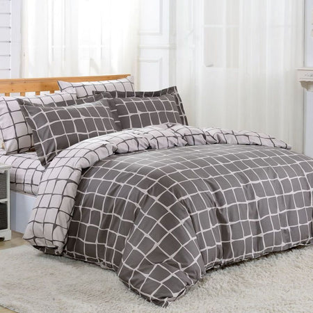 Dolce Mela Santorini 100% Cotton Luxury Queen Duvet Cover Reversible Design Bedroom Bedding Set