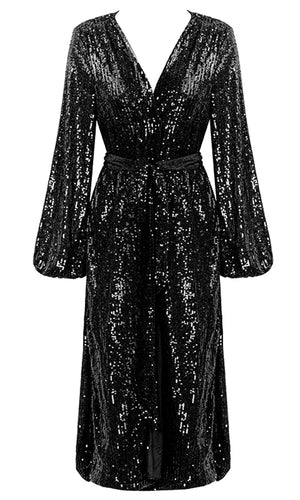 Uptown Saturday Night Black Sequin Long Sleeve Plunge V Neck Wrap Mini Dress