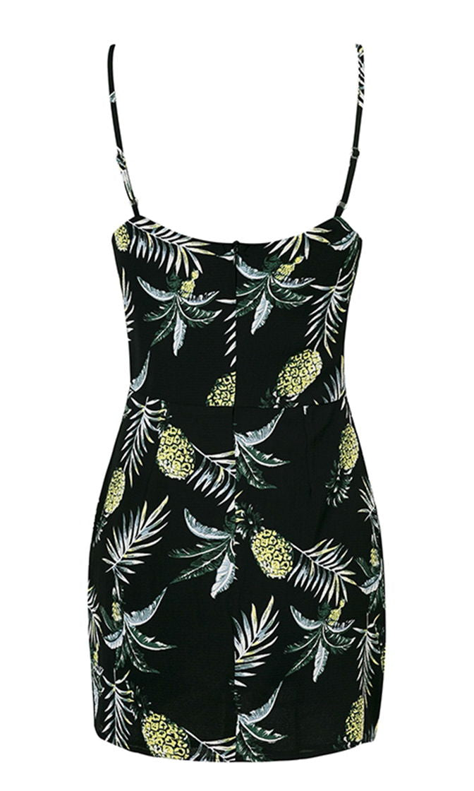 Looking For Love Blue Pineapple Pattern Sleeveless Spaghetti Strap V Neck Casual Mini Dress