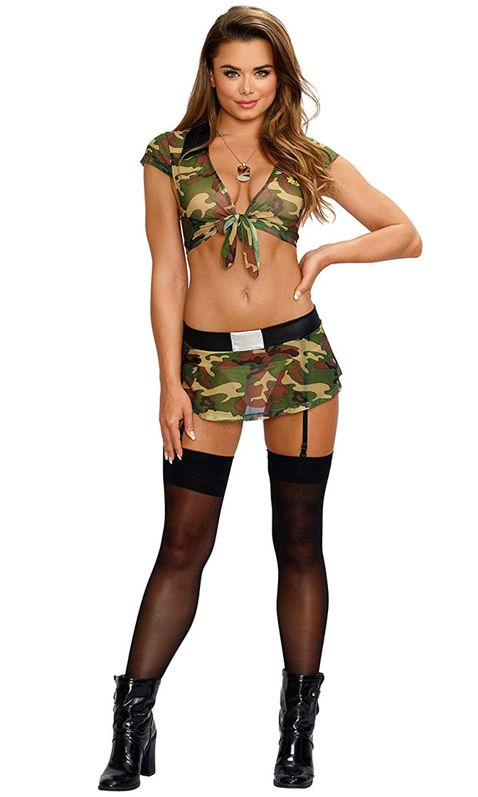 I'm Coming Home Green Camouflage Pattern Cap Sleeve V Neck Tie Crop Top Garter Mini Skirt Two Piece Dress Lingerie Costume
