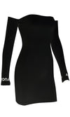 Woman In Control Ribbed Long Sleeve Off The Shoulder F Off Bodycon Casual Mini Dress