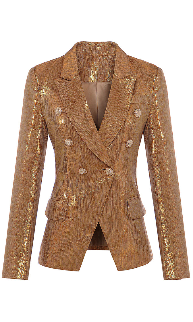 Posh Attitude Gold Metallic Long Sleeve Double Breasted Button Blazer Jacket Outerwear