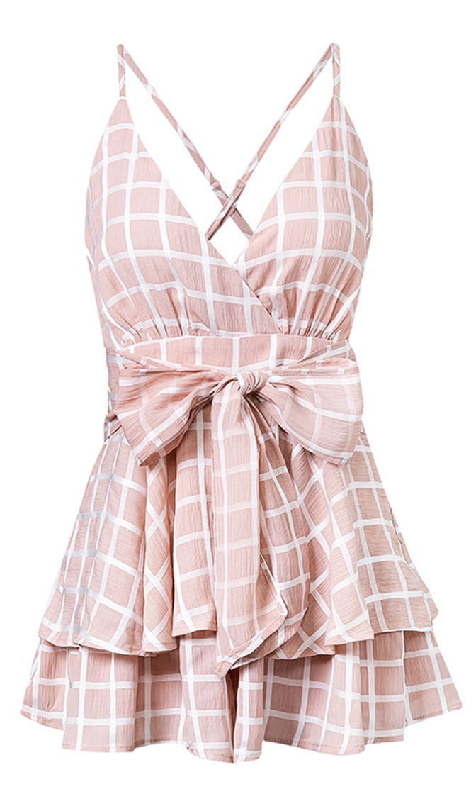 Must Be Lovely Pink Playsuit Sleeveless Spaghetti Strap Checkered Plaid Romper Tie Waist V Neck
