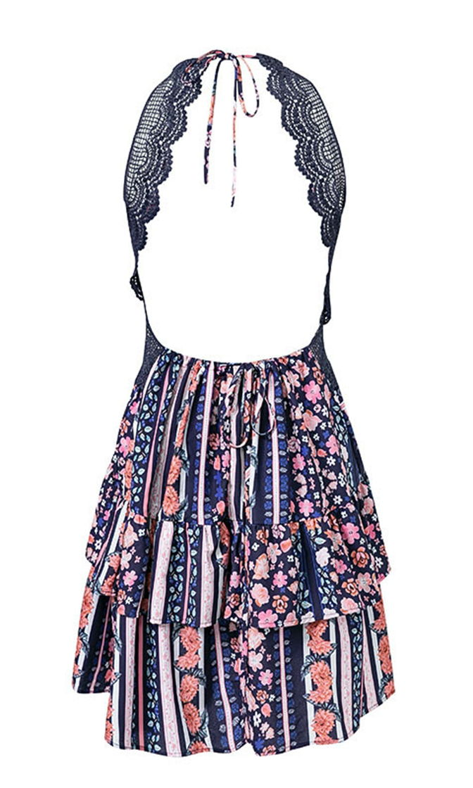I Gotta Feeling Dress V Neck Floral Black Lace Spaghetti Strap Sleeveless Tiered Mini Dress