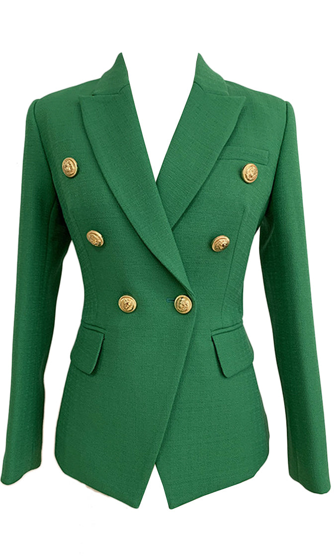 On Call Green Long Sleeve Gold Button V Neck Lapel Blazer Jacket Outerwear