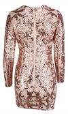Glisten Up Gold Metallic Sequin Scalloped Swirl Long Sleeve Plunge V Neck Asymmetric Hem Bodycon Mini Dress