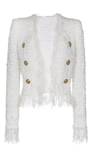 Forever Mine White Boucle Tweed Fringe Tassel Long Sleeve Round Neck Gold Button Jacket Outerwear