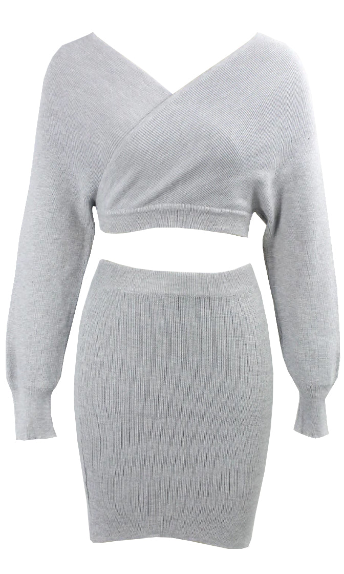 So Lavish Ribbed Knit Sweater V Neck  Long Sleeve Cross Wrap Crop Pullover Two Piece Cut Out Back Bodycon Mini Dress - 2 Colors Available