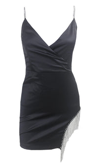 Love The Bling Black Satin Rhinestone Fringe Cross Wrap V Neck Spaghetti Strap Sleeveless Cut Out Leg Mini Dress