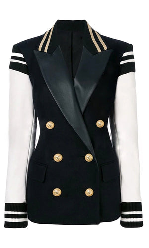 Back To School White Black Varsity Faux Leather Double Breasted Striped Gold Button Blazer Outerwear Jacket Coat