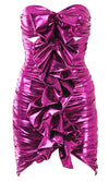 I Deserve It Fuchsia Pink Metallic Strapless Sweetheart Neckline Cut Out Ruffle Ruched Bodycon Mini Dress