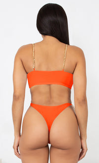 Fit Right In My Hands Red Gold Chain Spaghetti Straps Cut Out Brazilian High Leg Monokini One Piece Swimsuit