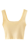 Lemon Fresh Yellow Ribbed Sleeveless Square Neck Basic Cropped Tank Top