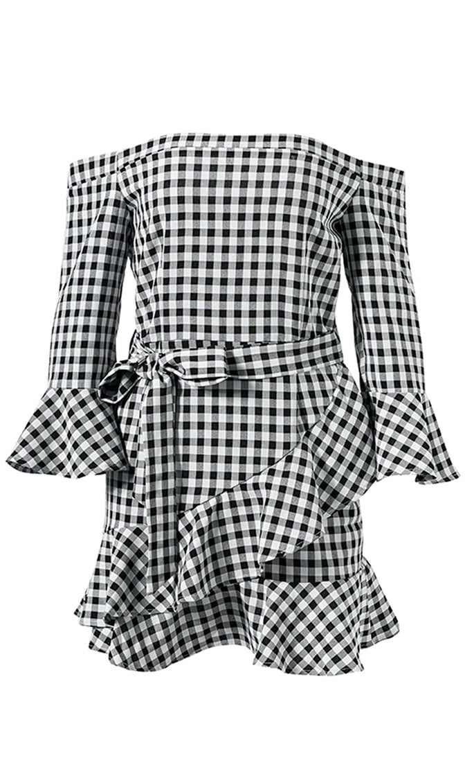 Time To Go Black White Gingham Check Pattern Long Flare Sleeve Off The Shoulder Ruffle Casual Mini Dress - Sold Out