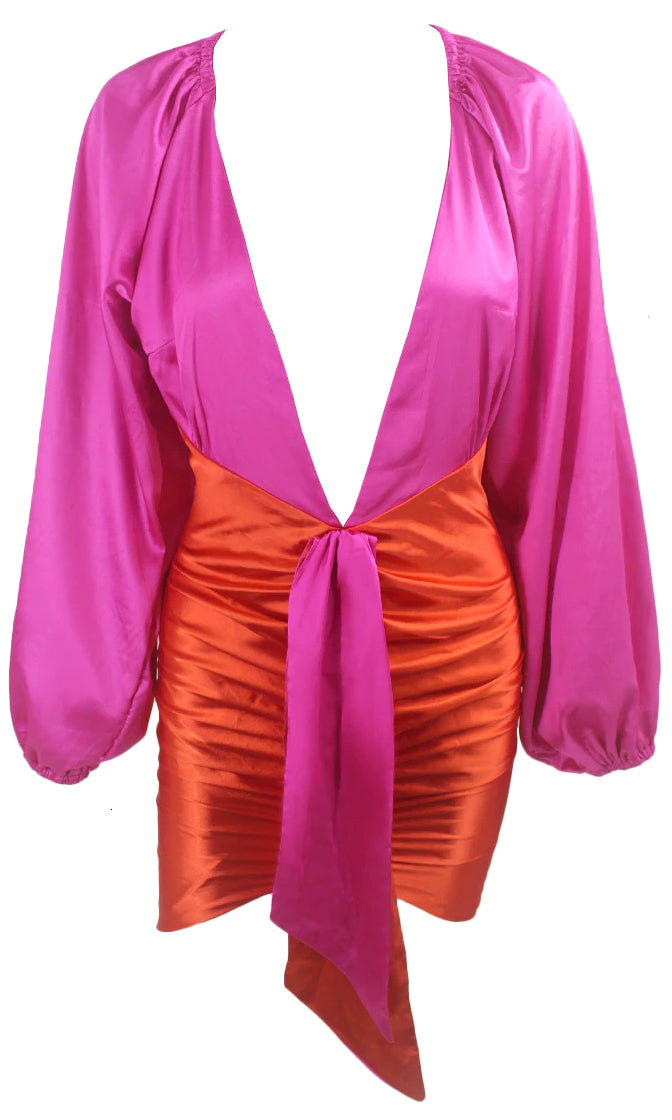 My Fantasy Fuchsia Pink Orange Two Piece Set Long Lantern Sleeve Ruched Plunging Deep V Neck Sash Drape Bodycon Mini Dress