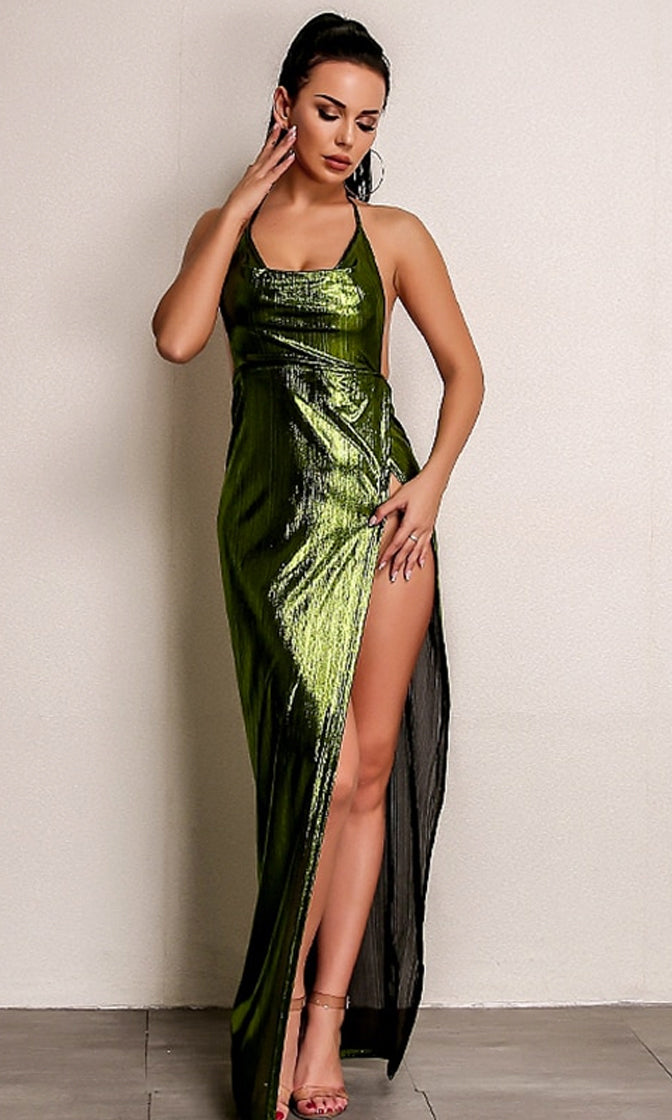 So Mysterious Green Metallic Sleeveless Spaghetti Strap Backless Halter Drape V Neck Side Split Maxi Dress - 2 Colors Available