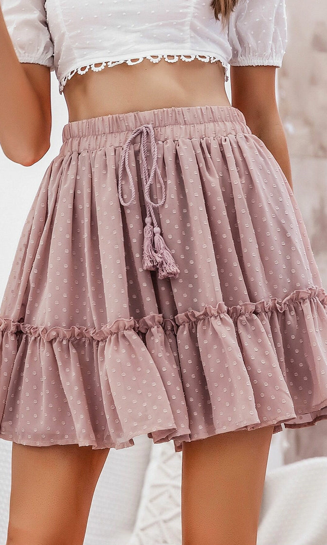 Hometown Girl Allover Pattern Elastic Waist Tiered Ruffle Tassel A Line Flare Casual Mini Skirt
