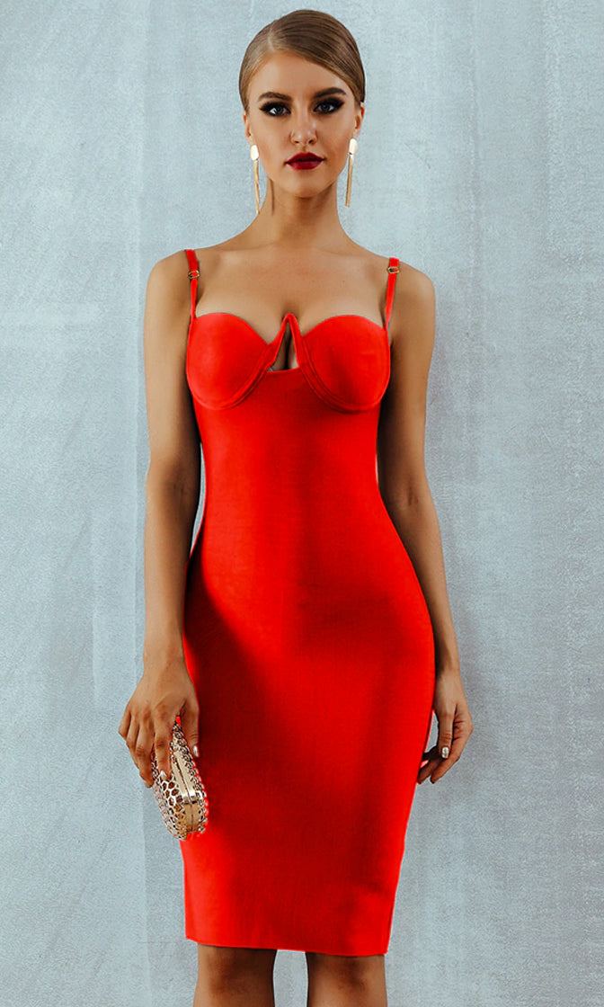 Deja Vu Red Sleeveless Spaghetti Strap V Neck Cut Out Bandage Bustier Bodycon Midi Dress