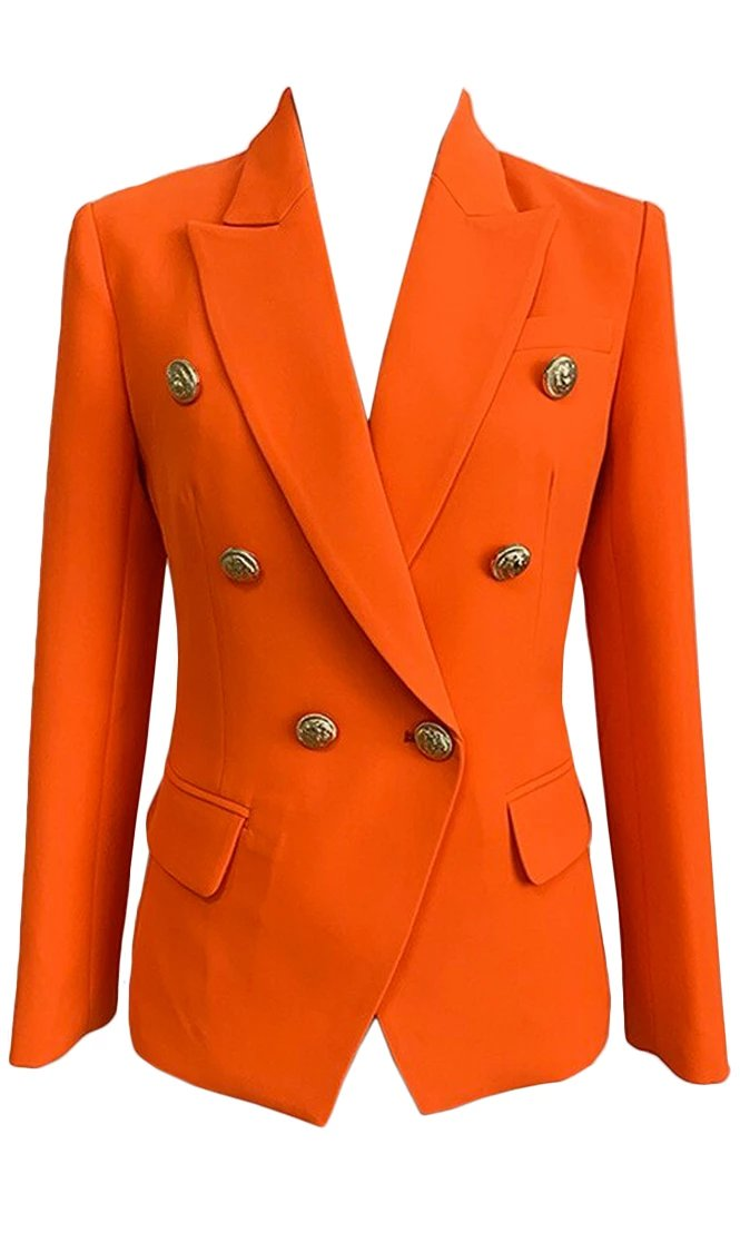 Working Smarter Orange Long Sleeve Gold Button V Neck Lapel Blazer Jacket Outerwear