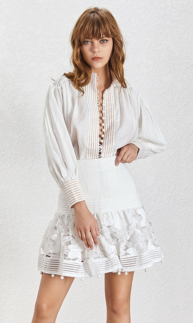 My Inspiration Lace Long Lantern Sleeve Button Front Tunic Blouse Top Wide Waist Flare A Line Mini Skirt Two Piece Dress - 2 Colors Available