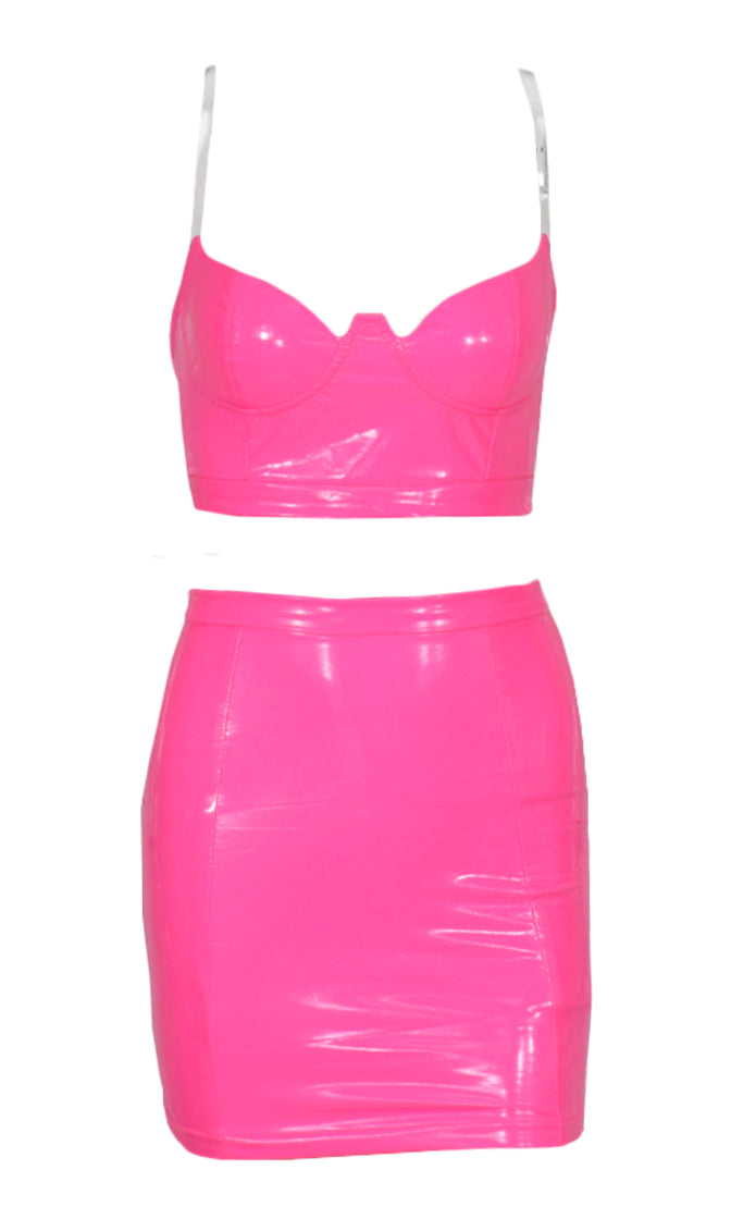 You're The One Hot Pink Faux Leather Bustier Clear Spaghetti Strap Crop Top Two Piece Bodycon Mini Skirt Dress Set