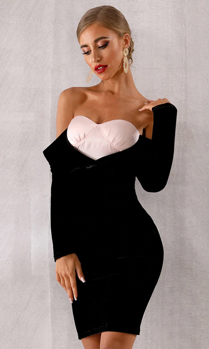 Keep The Faith Light Pink Black Long Sleeve Off The Shoulder Bustier V Neck Bodycon Midi Dress