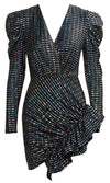 Can't Be Tamed Black Sequin Stripe Pattern Long Sleeve Puff Shoulder Cross Wrap V Neck Ruffle Bodycon Mini Dress