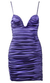 Love Me Better Purple Satin Bustier Strapless Rhinestone Cut Out Sides Fringe Bodycon Mini Dress - 2 Colors Available