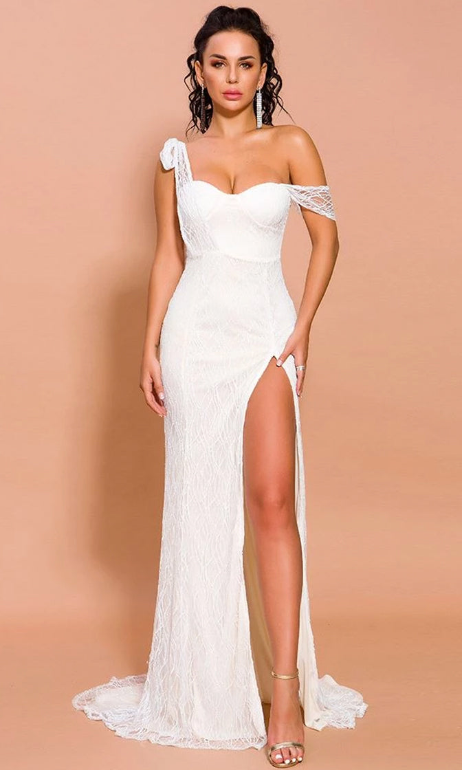 Ready To Love You White Sheer Mesh Glitter Draped Short Sleeve Sweetheart Neck Side Slit Maxi Dress