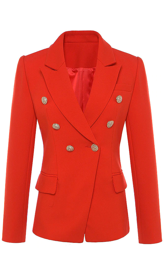 A Million Ways Red Gold Button Long Sleeve V Neck Lapel Blazer Jacket Outerwear