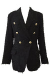 Power Moves Black Gold Button Long Sleeve Double Breast Lapel Blazer Jacket Outerwear