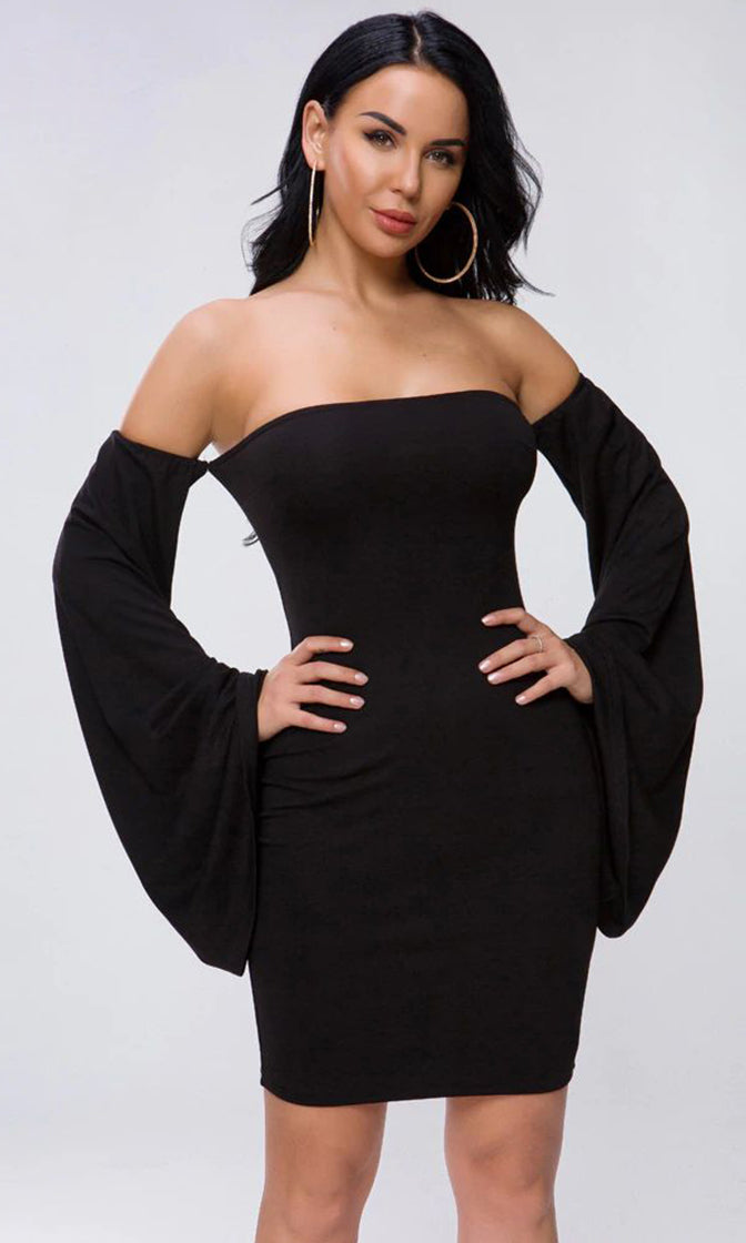 Spy On Me Black Long Bell Sleeve Off The Shoulder Bodycon Mini Dress