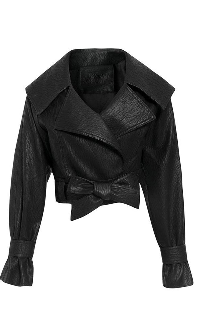 Roadside Attraction Black PU Faux Leather Wide Collar Wrap Belt Crop Moto Jacket Outerwear