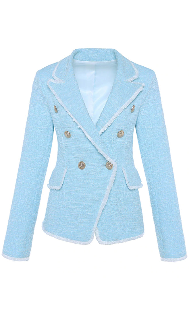 Cloudy Kisses Light Blue White Textured Boucle Tweed Long Sleeve Fringe Trim Gold Button Blazer Jacket Outerwear