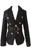 Reliable Sources Black Glitter Silver Stars Long Sleeve V Neck Button Blazer Jacket Outerwear