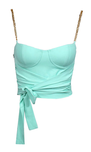 Dreams Come True Mint Green Chain Spaghetti Strap Bustier Sweetheart Pastel Tie Front Bow Crop Top