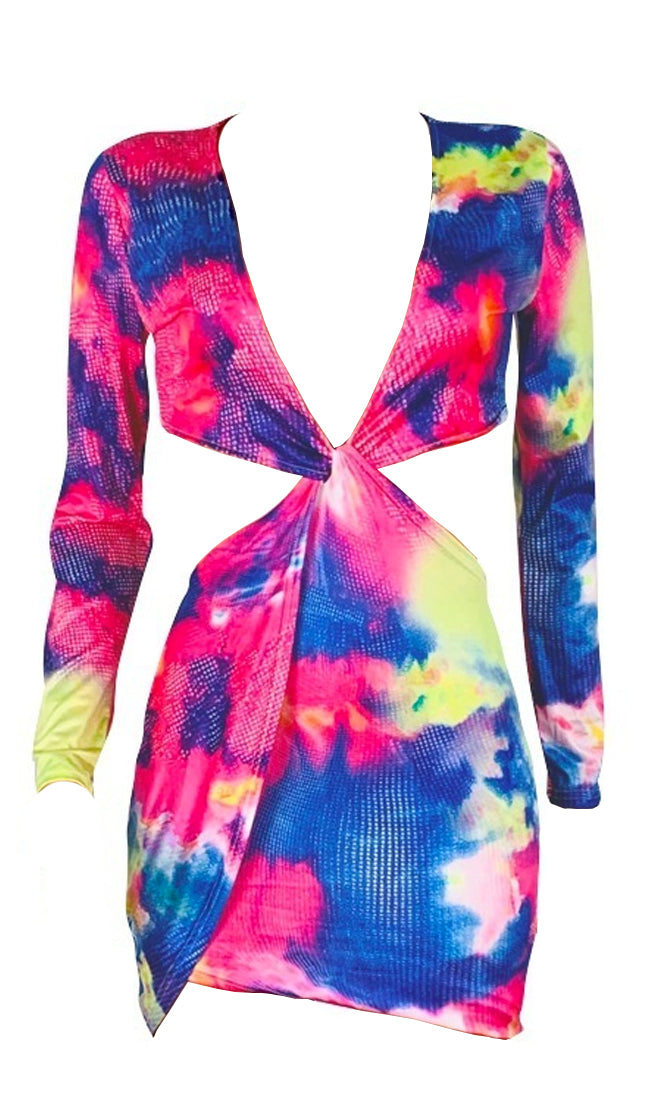 Tie Me Down Multicolor Tie Dye Long Sleeve Plunge V Neck Twist Knot Cut Out Sides Open Back Bodycon Mini Dress - Sold Out