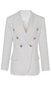 Clean Lines White Faux Leather Gold Button Double Breasted Blazer Jacket Outerwear