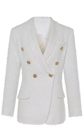 Riding My Coat Tails White Long Sleeve Plunge Satin V Neck Hook And Eye Corset Crop Blazer Jacket Outerwear