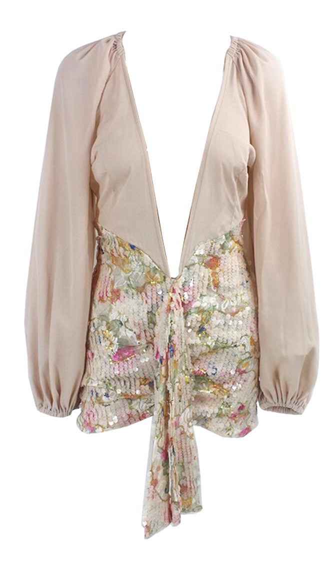 New Addition Beige Sequin Floral Pattern Long Lantern Sleeve Plunge V Neck Sash Drape Bodycon Mini Dress