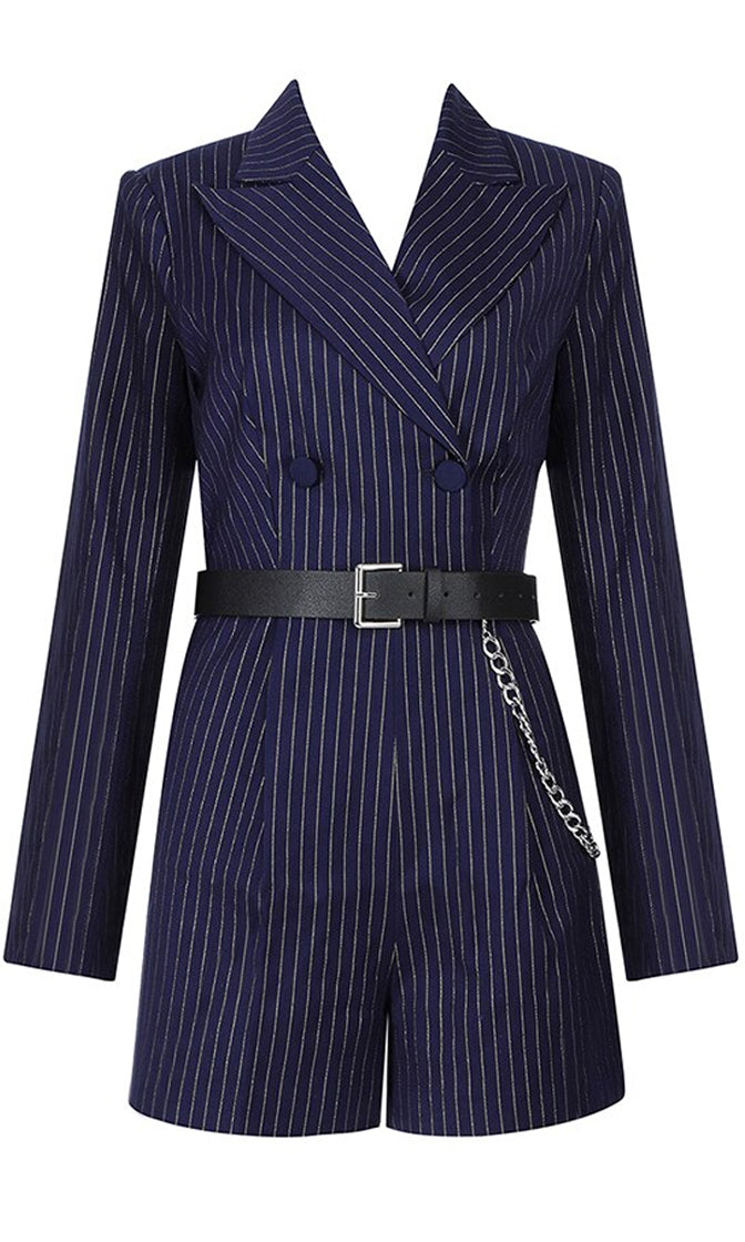 Cruise the Streets Double Breasted Button Long Sleeve Stripe Belted Silver Chain Pattern Navy White Pinstripe Belted Romper