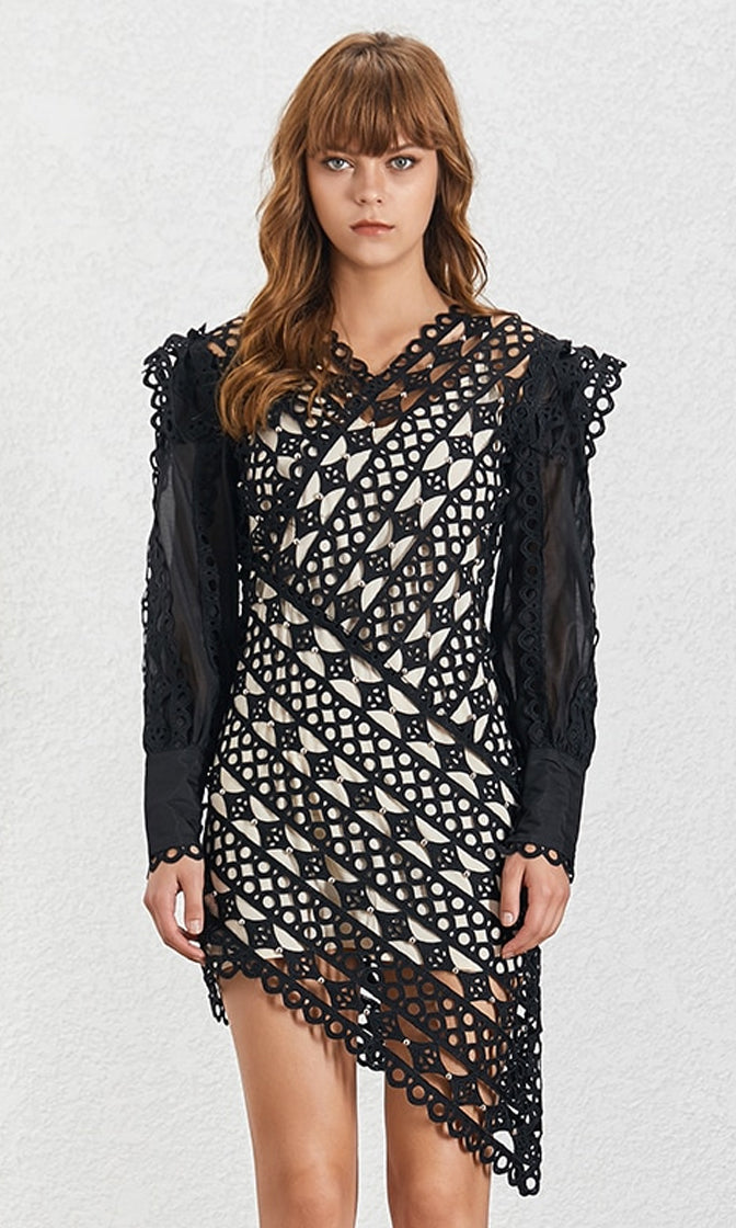 Evening At The Louvre Black Lace Long Lantern Sleeve V Neck Asymmetrical High Low Casual Mini Dress - 2 Colors Available