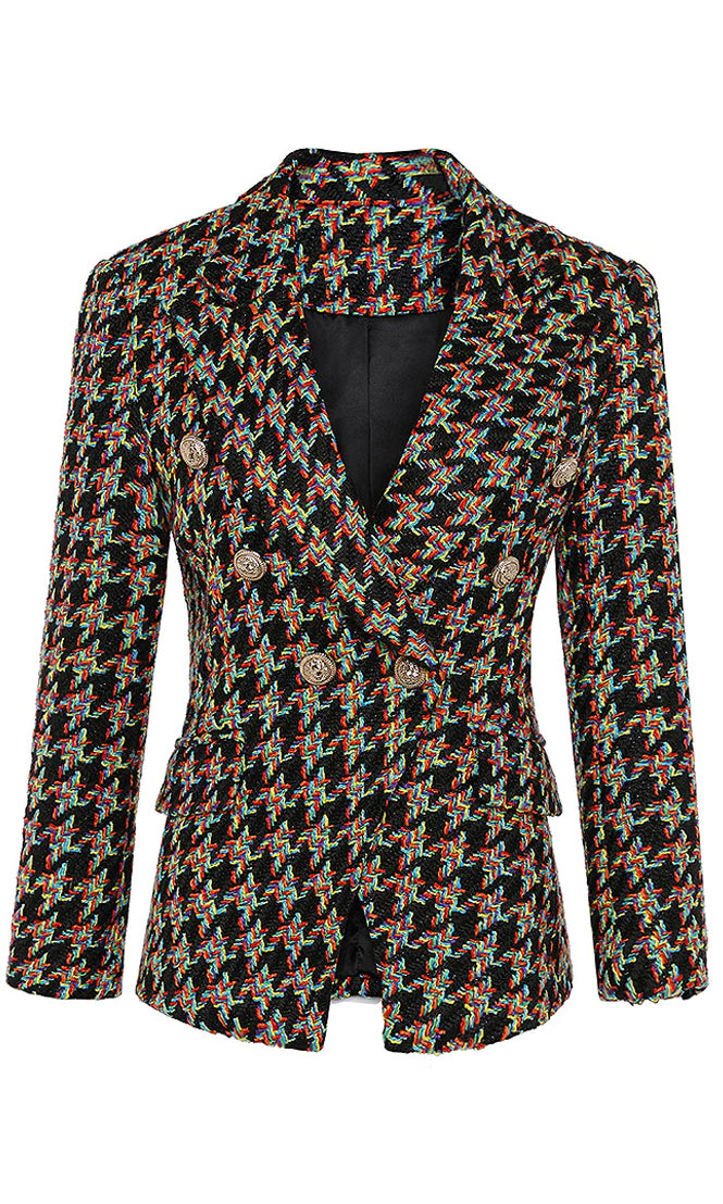 Atelier Attitude Black Multicolor Plaid Pattern Long Sleeve Gold Button Woolen Double Breast Blazer Jacket Outerwear