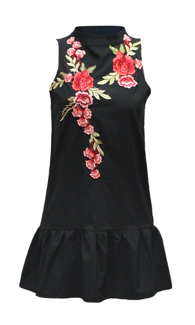 Rose Parade Sleeveless Floral Pattern Embroidery Mock Neck Cut Out Back Ruffle Casual Shift Mini Dress - 3 Colors Available